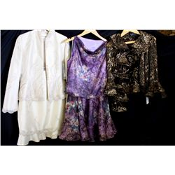 Lot [3] PIECES ASSORTED CLOTHING: [1] LouiseB brown ruffle jacket, size 10, [1] Purple 2 pcs lace se