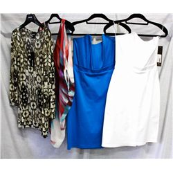 Description Change:Lot [4] PIECES ASSORTED CLOTHING: [1] White large corset top, Size L, [1]  Pea co