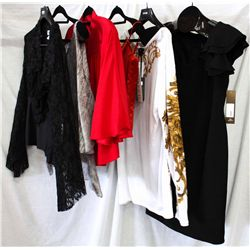 Lot [6] PIECES ASSORTED CLOTHING: [1] Black crepe dress, size 10, [1] Tee shirt, size L, [1] Yolanda