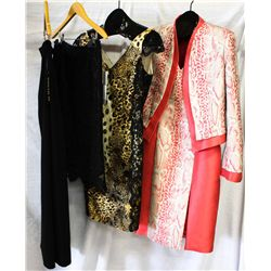 Lot [4] PIECES ASSORTED CLOTHING: [1] Coral piton jacket wool dress, size 10, [1] Silk v neck dress,