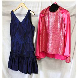 Lot [2] PIECES ASSORTED CLOTHING: [1] Pink camisole silk, size 12, [1] LouiseB silk shirt, size 12