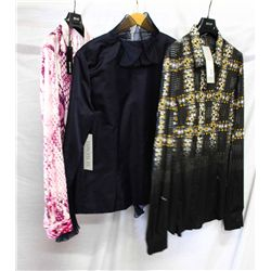 Lot [3] PIECES ASSORTED CLOTHING: [1] Leopard print top, Size 14, [1] Navy ruffle zipper jacket, siz