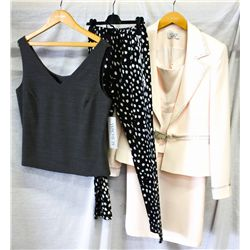 Lot [3] PIECES ASSORTED CLOTHING: [1] 3 pcs jacket, skirt and top, size 14, [1] Justcavalli polkadot