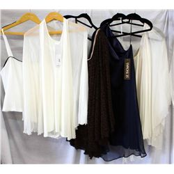 Lot [5] PIECES ASSORTED CLOTHING: [1] Yolanda ivory jersey dress with chiffon overlay, size O/S, [1]