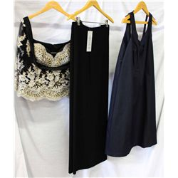 Lot [3] PIECES ASSORTED CLOTHING: [1] Yolanda navy scoop neck, size 22, [1] Black palazzo pant, size