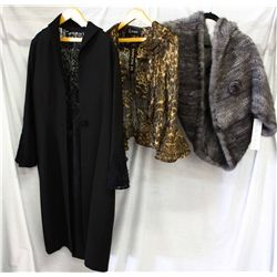 Lot [3] PIECES ASSORTED CLOTHING: [1] Blue Iris knitted mink cape, O/S, [1] Brown ruffle jacket, siz