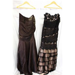 Lot [2] DRESSES: [1] Brown strapless taffeta gown, size 12, [1] Black lace ruffle gown, size 12