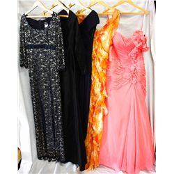 Lot [5] DRESSES: [1] Coral one shoulder floral gown, size 8, [1] Mandarin halter gown with ruffles,