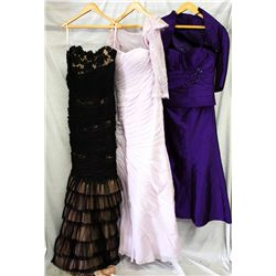 Lot [3] DRESSES: [1] Purple roosching top, size 6, [1] Lilac gown with lace size 6, [1] Black lace r