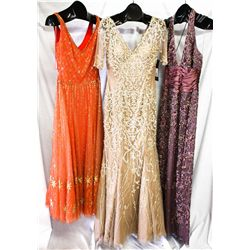 Lot [3] DRESSES: [1] Flower beading gown, size 8, [1] Nude beaded gown with sleeves, size 8, [1] Ora