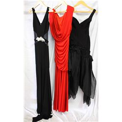 Lot [3] DRESSES: [1] Herve Leger black dress, size XS, [1] Jovani red cowl front jersey gown, size 4