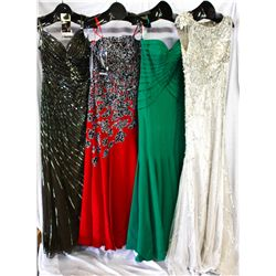 Lot [4] DRESSES: [1] Silver scoop full sequin gown, size 10, [1] Strapless with bolero, size 10, [1]