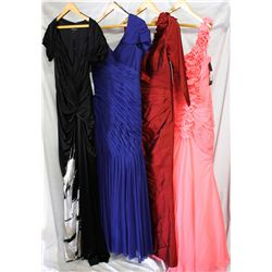 Lot [4] DRESSES: [1] Coral one shoulder floral gown, size 12, [1] Red shoulder and sleeve with roses