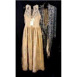 Lot [2] DRESSES: [1] Navy lace long sleeve gown, size 16, [1] Gold  beaded illusion gown, size 14