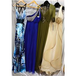 Lot [4] DRESSES: [1] Ivory ruffles over silk satin gown, size 6, [1] Olive mesh 3/4 sleeve gown, siz