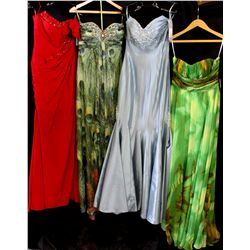 Lot [4] DRESSES: [1] Green gown, size 8, [1] Strapless tuck gown, size 8, [1] Jovani strapless peaco