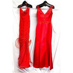 Lot [2] DRESSES: [1] Red V neck satin gown, size 6, [1] Sweetheart bow neck, size 6