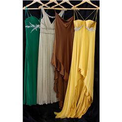 Lot [4] DRESSES: [1] Green Faviana strapless dress, size 8, [1] Gold criss cross gown, size 8, [1] B