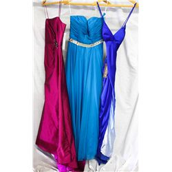 Lot [3] DRESSES: [1] Royal blue Yolanda spaghetti strap gown, size 8, [1] Jovani strapless twist and