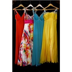 Lot [4] DRESSES: [1] Yellow strapless gown with chiffon top, size 10, [1] Faviana blue beaded ruffle