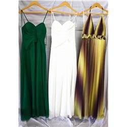 Lot [3] DRESSES: [1] Yellow ombre halter gown, size 10, [1] White double sash gown, size 10, [1] Gre