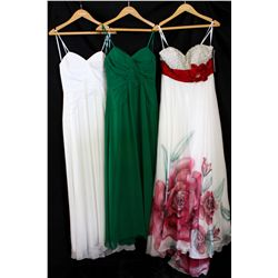 Lot [3] DRESSES: [1] White double sash strapless gown, size 12, [1] Green Ang jolie dress, size 12,