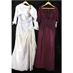 Lot [2] DRESSES: [1] Amethyst 3/4 sleeve gown, size 12, [1] Silver sweetheart crystal gown, size 12