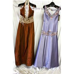 Lot [2] DRESSES: [1] Purple satin dress with beading, size 10, [1] Halter rhinestone twist gown, siz