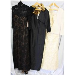 Lot [3] DRESSES: [1] Lace fringe gown with rhinestone jacket, size 12, [1] Bronze tulip bol with tan