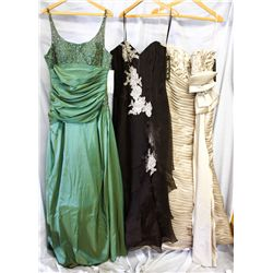 Lot [3] DRESSES: [1] Palomino bow gown, size 14, [1] Brown sweetheart cream flowers gown, size 14, [