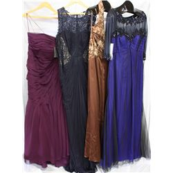 Lot [4] DRESSES: [1] Beaded 3/4 sleeve gown, size 16, [1] Bead halter with bolero gown, size 16, [1]