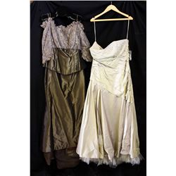 Lot [2] DRESSES: [1] Strapless ball gown, size 18, [1] Brown off shoulder with lace, size 16