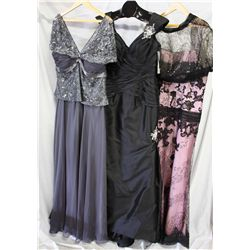 Lot [3] DRESSES: [1] Vintage lace with jacket, size 16, [1] Black crystal shoulders, size 16, [1] Ca