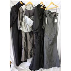 Lot [4] DRESSES: [1] One Shoulder and sleeve, size 14, [1] Black strapless bead bust, size 14, [1] S