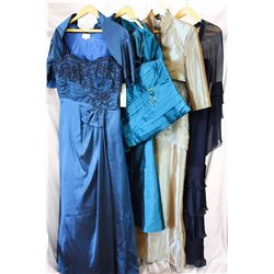 Lot [4] DRESSES: [1] Navy tiered long sleeve, size 14, [1] Gold bead lace bodice gown, size 14, [1]