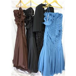 Lot [4] DRESSES: [1] Black lace fringe with rhinestone jacket, size 18, [1] Blue one shoulder with f