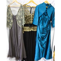 Lot [3] DRESSES: [1] Blue gown with straps & taffeta, size 20, [1] Long sleeve bead with belt gown,