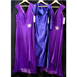 Lot [3] DRESSES: [1] Purple cap sleeve brooch gown, size 18, [1] Strapless taffeta gown, size 18, [1