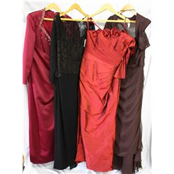 Lot [4] DRESSES: [1] Chocolate strapless, size 16, [1] Red shoulder and sleeve with roses around nec