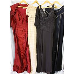 Lot [4] DRESSES: [1] Red halter gown with bolero, size 16, [1] Netting SQ sequin, size 16, [1] Choco