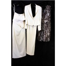 Lot [3] Pieces ASSORTED CLOTHING: [1] Ivory two tone couture, size 8, [1] LouiseB ivory drape back,
