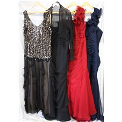 Lot [4] DRESSES: [1] Black sequin with chiffon, size 20, [1] Black strapless, size 18, [1] Red shoul