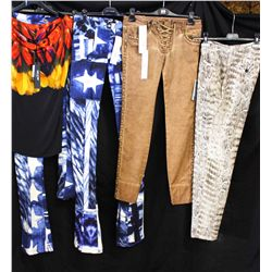 Lot [4] Pieces ASSORTED CLOTHING: [1] Feather print t-shirt, size 6, [1] Star print pants, size 4, [