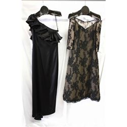 Lot [2] DRESSES: [1] Lace black long sleeve off shoulder, size 8, [1] LouisB black one shoulder ruff