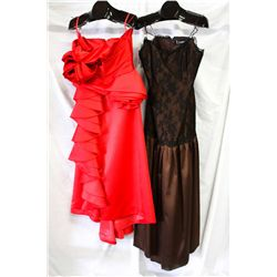 Lot [2] DRESSES: [1] Red dress flower motif, [1] LouiseB brown dress with lace accents, size 12