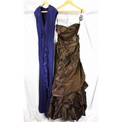 Lot [2] DRESSES: [1] Strapless matte taffeta dress, brown, size 2, [1] Navy ruffle front dress, size