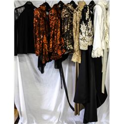 Lot [7] Pieces ASSORTED CLOTHING: [1] Black lace trim top, size 4, [1] LouiseB rust colored lace jac