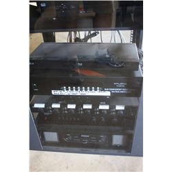 LOT SERVER RACK; SAMSUNG MONITOR; SAMSUNG AMP; AUDIO SOURCE AMP; XANTECH SPEAKER SELECTOR 2X6; LG BL