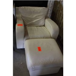 WHITE LEATHER CHAIR AND FOOTSTOOL
