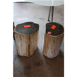 LOT 2 PETRIFIED WOOD TABLES